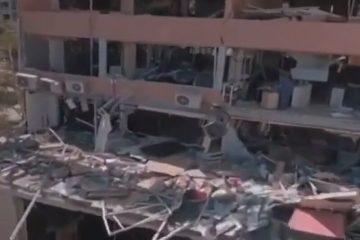 ببینید | تصاویر جدید پهپادی از حجم تخریب از انفجار در بندر بیروت