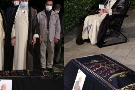 اقامه نماز رهبر انقلاب بر پیکر آیتالله حسنزاده آملی